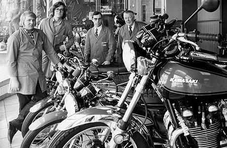 Rentzelstraße 7 im Jahre 1972, seit einigen Jahren Deutschlands größtes Motorradgeschäft