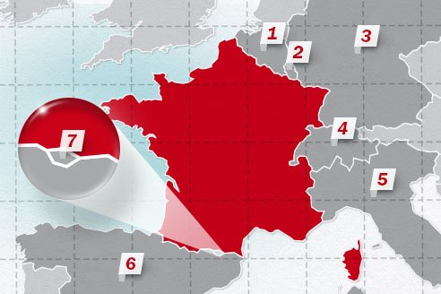 The neighboring countries of France