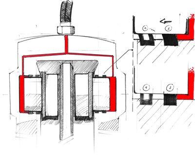 Sketch: A sketch of a single piston floating saddle of a Kawasaki Z 900.