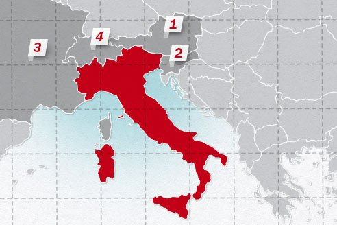 The neighboring countries of Italy