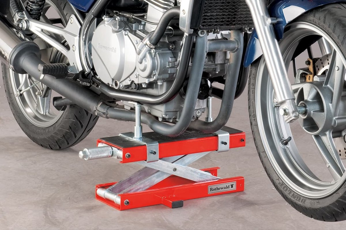 The motorcycle scissor lift jack is to be used with or without an adapter, depending on the motorcycle model
