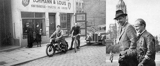 Links im Bild: Das Geschäft Lohmann & Louis in der Hamburger Rosenstraße. Rechts im Bild: Walter Lohmann und Detlev Louis 1947 in München.